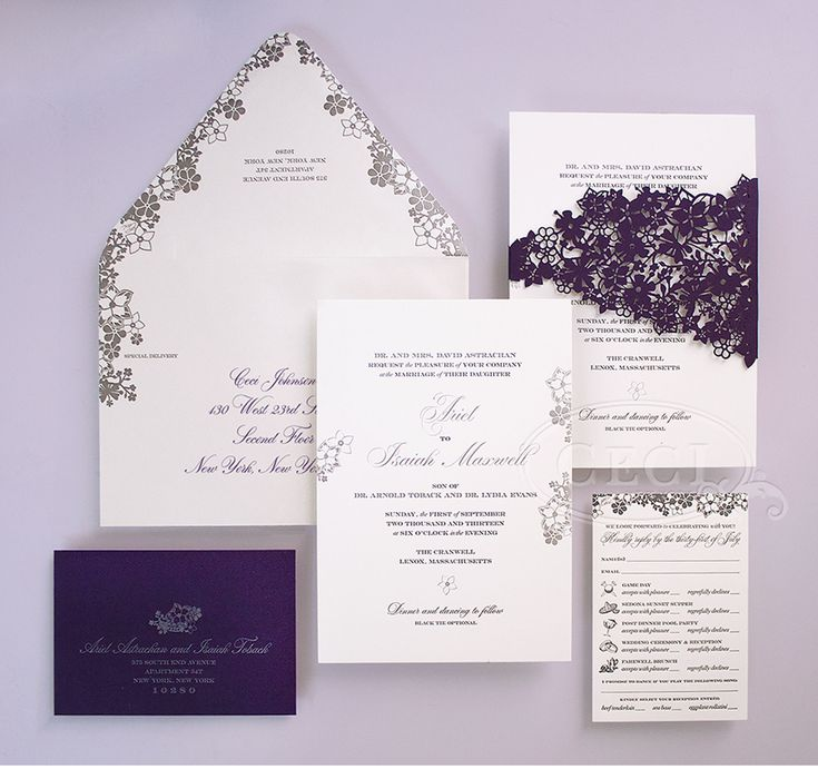 Luxury Wedding Invitations by Ceci New York - Our Muse - Perfectly Purple Wedding - Be inspired by Ariel and Isaiah's elegant Massachusetts ...