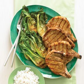 Honey-Soy Grilled Pork Chops with Crunchy Bok Choy