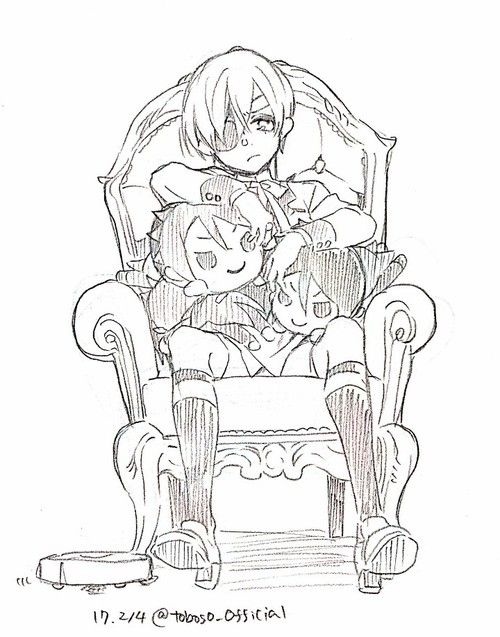 yanas sketch of ciel and some sebastian plushies x - Black Butler Chibi Coloring Pages