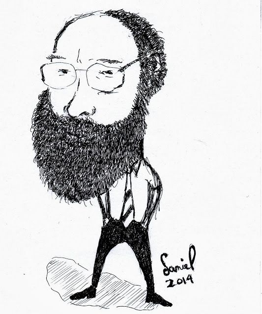 A caricature of famous debunker James Randi.