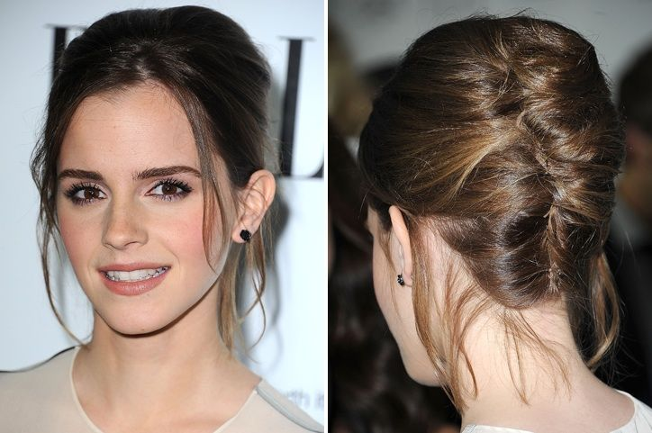 Saturday-Night Hair: Emma Watson's Pretty Updo - their instructions are so off, but I think this could be easily recreated.