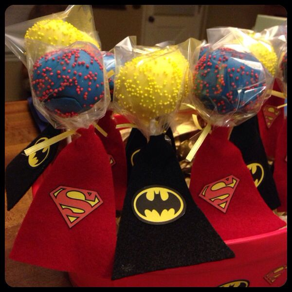 Did it!! My superhero cake pops. Made the capes out of felt. Printed logos on labels, cut out, and stuck on capes like stickers.