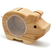 Watch your savings grow in this wooden piggy bank. He'll keep your coins safe behind a plastic window held by screws until you're ready to empty and fill him again.