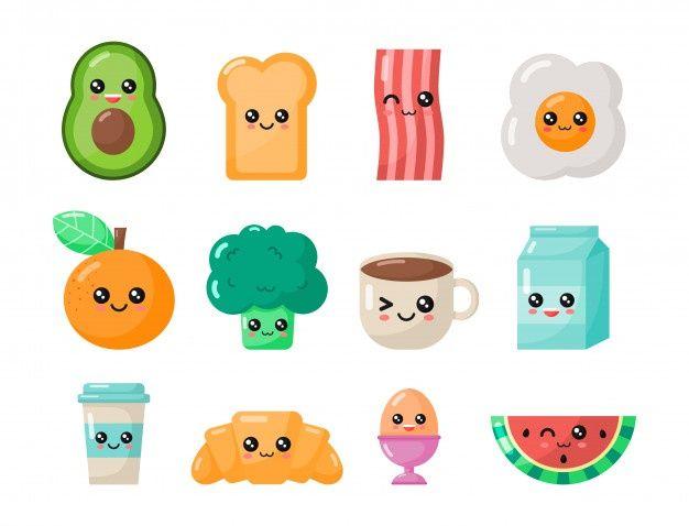 Set Of Kawaii Cartoon Breakfast Food Isolated In 2021 Cute Little Drawings Kawaii Doodles Kawaii