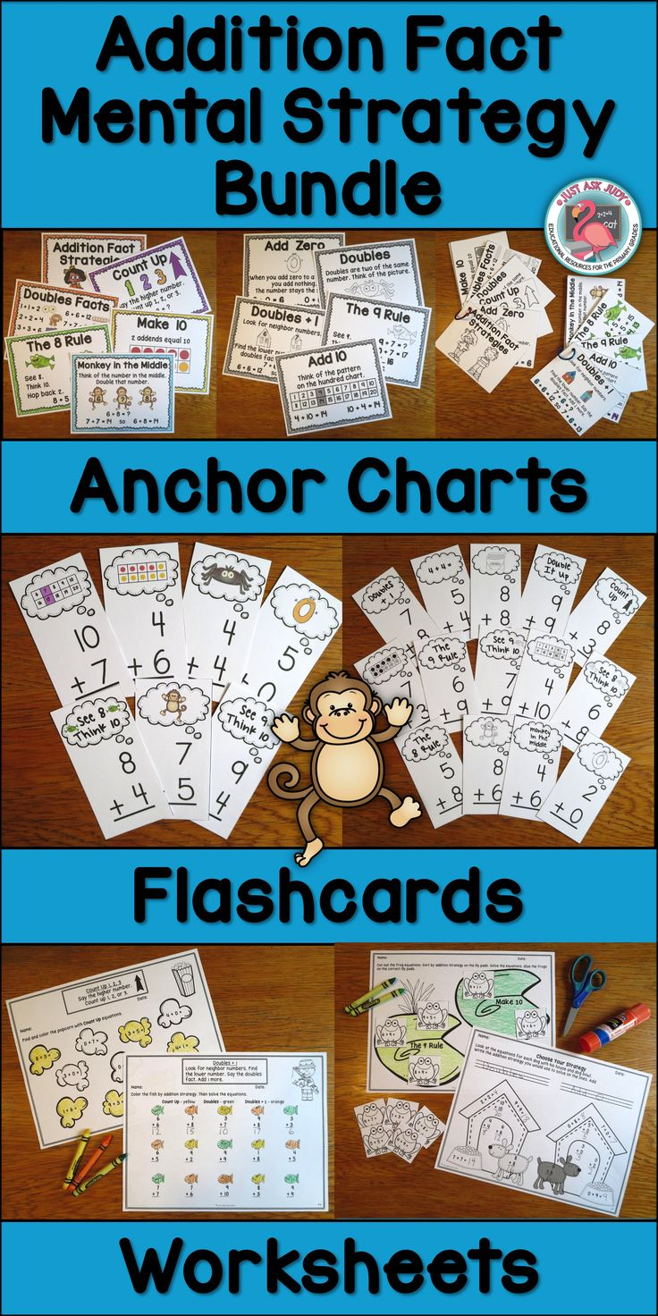 This bundle of three resources is perfect for supporting explicit strategy instruction for the basic addition facts to 20 in first and second grade. The visual and verbal cues, along with systematic, sequential instruction, will facilitate your students' recall and application of these strategies. $