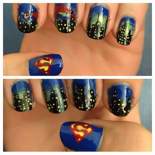 Superman Man of Steel Nail Art