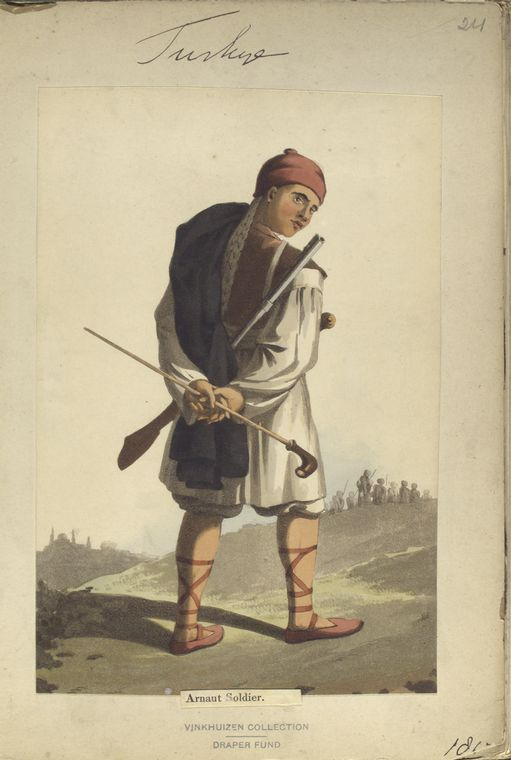Arnaut Soldier (Macedonia, Marea, Sclavonia). The Vinkhuijzen collection of military uniforms / Turkey, 1812. See McLean's Turkish Army of 1810-1815.