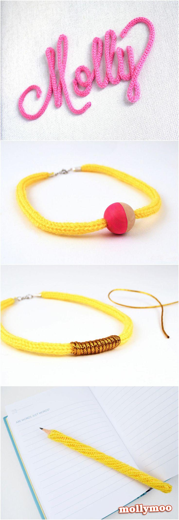 4 French Knitting / iCord craft ideas | MollyMooCrafts.com