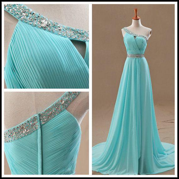 Chiffon One-Shoulder A-Line Light Blue Long Evening Dress/Prom Dress/Party Dress/Formal Evening Dress/Formal Gowns
