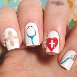 Nurse Nails #naildesign #nailart  Great mani odea for someone graduating from Nursing School.