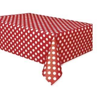 plastic tafelkleed Polkadot Red