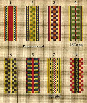 1900s-HOW-TO-Build-Tablet-CARD-LOOM-HAND-WEAVING-CD...Samples Of Weaves.