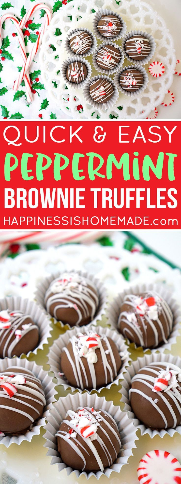 These easy peppermint brownie truffles are perfect for holiday parties and potlucks, and they make a great Christmas gift idea for friends, neighbors, and teachers!
