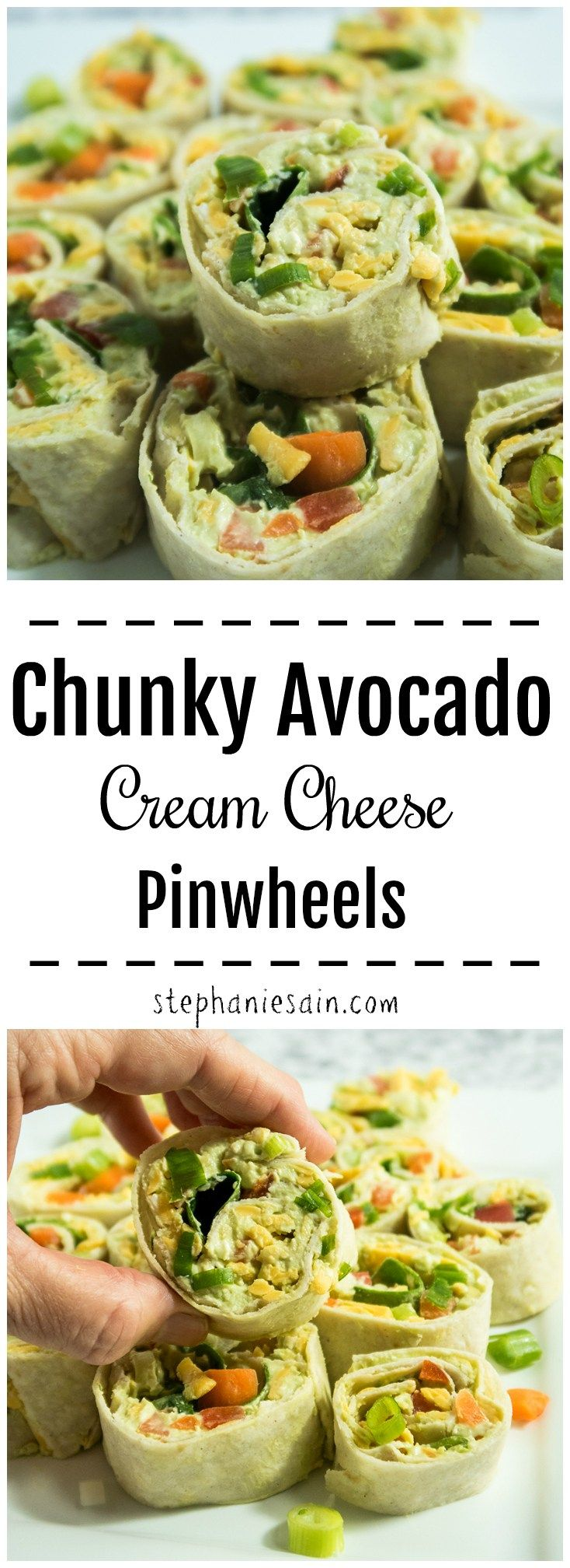 Chunky Avocado Cream Cheese Pinwheels are made with a tasty avocado spread and then loaded with all your favorite veggies. The perfect bite sized snack or even appetizer for entertaining. Gluten free & Vegetarian. (Vegan Appetizers Pinwheels)