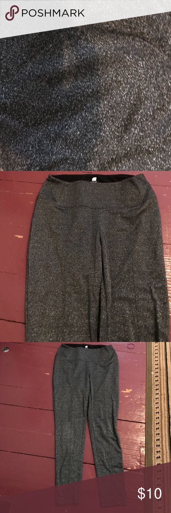 New sparkly silver legging pants Wore once and were too big Size large beautiful shape ! Flattering and tummy control waistband Thick material ( not see through at all) !!! So cute ! Pants Leggings