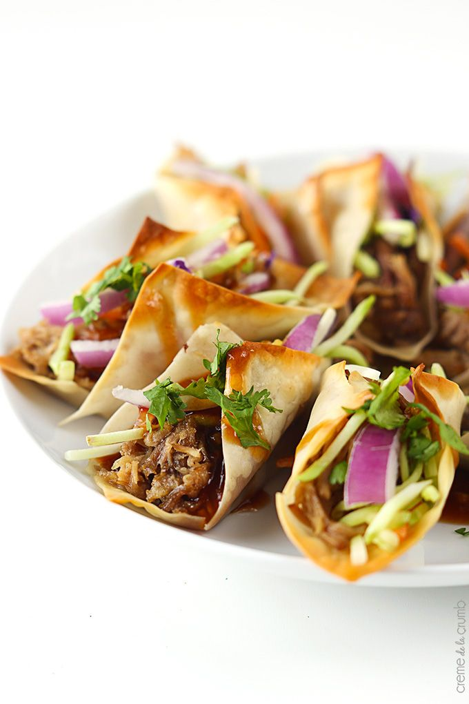 Sweet n' saucy slow cooked Hawaiian Bbq pork wrapped in wonton wrappers and baked til crispy