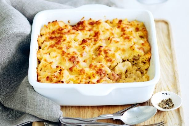 Sneak in cauliflower to your mac and cheese bake for an easy way to get the kids to eat their vegetables.