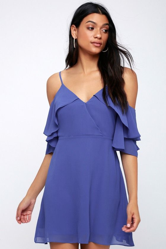 1f281e2ec5 Sweet Memories Cobalt Blue Off-the-Shoulder Skater Dress 3