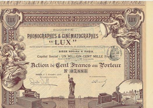 Société des Phonographes et Cinématographes Lux, Paris, 1908