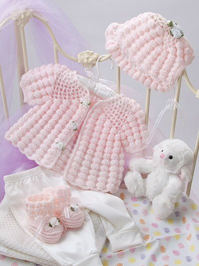 These precious heirloom-quality designs by Rebecca Leigh are made using fingering, light and sport-weight yarns and range in size from 3-6 months, 6-9 months and 12-18 months. Projects include dresses