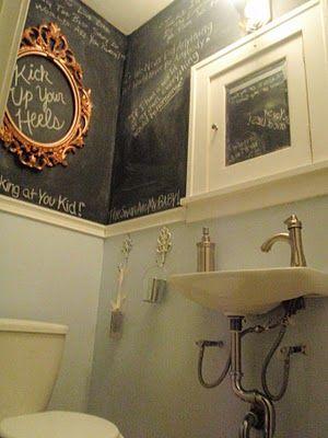 bathroomPowder Room, Guest Bathroom, Chalkboards Painting, Half Bath, Bathroom Wall, Minis Bathroom, Basements Bathroom, Chalkboards Bathroom, Chalkboards Wall