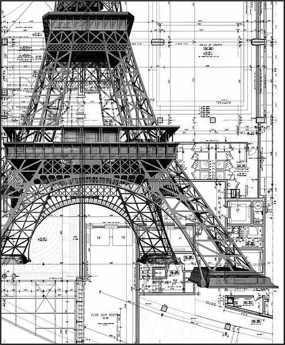 Detalhes da construção da Torre Eiffel...: