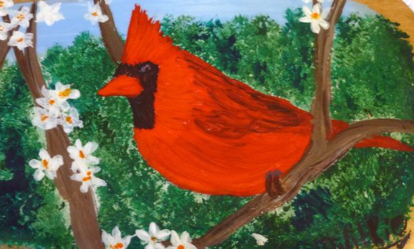 """Male Cardinal.  Painted on a 14"""" canoe paddle."""