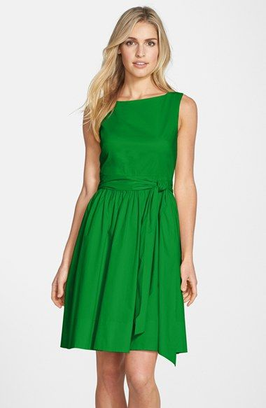 Eliza J Open Back Tie Waist Stretch Cotton Fit & Flare Dress (Regular & Petite) available at #Nordstrom