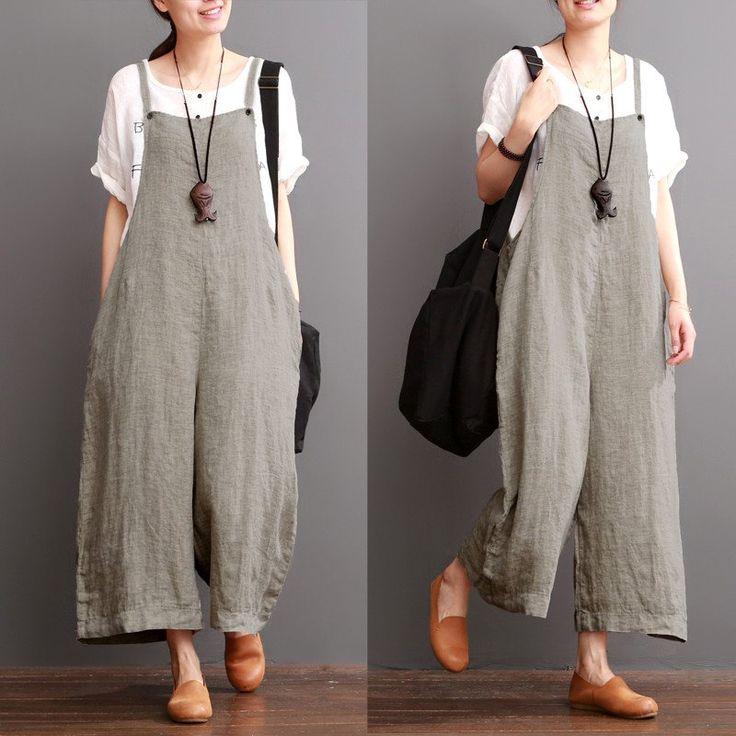 Cotton Linen Sen Department Causel Loose Overalls Big Pocket Maxi Size Trousers Women Clothes