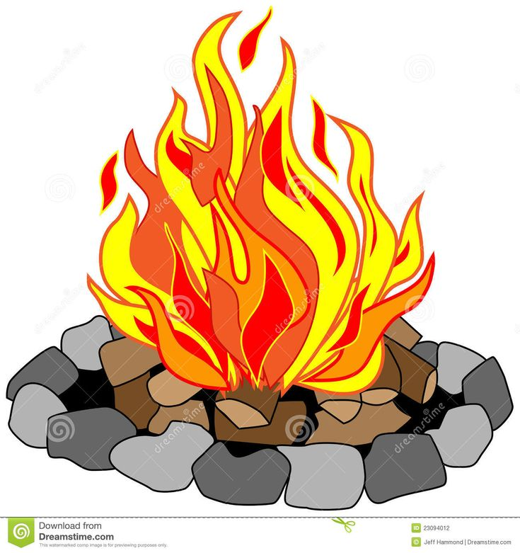 campfire clip art free | Vector drawing of campfire in a stone pit with burning logs creating ...