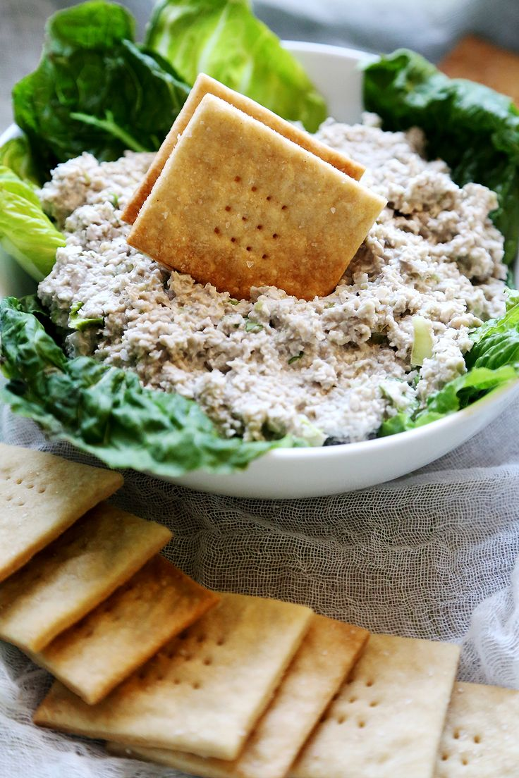 "Vegan Mock ""Tuna"" Salad Dip with Homemade Saltine Crackers - Breads..."