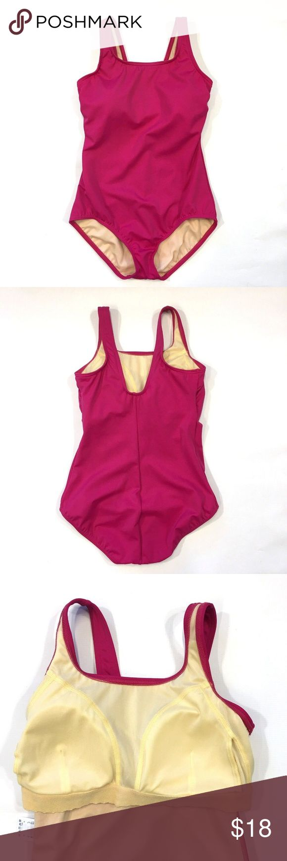 Lands End Dark Pink One Piece Swimsuit Modest 8 Woman's size 8  Lands End on…