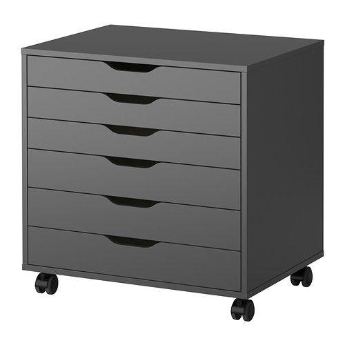 IKEA - ALEX, Cajonera con ruedas, gris, , Los topes evitan que los cajones se extraigan por completo.Como la parte trasera está acabada, puedes poner el mueble en cualquier parte de la habitación.Gracias a las ruedas, es fácil de mover a donde se necesite.