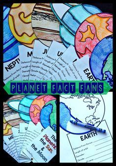 Research + Facts Fans = FUN! Students research the planets and record their information. Color, cut, and add a metal brad. You have a Fact Fan!