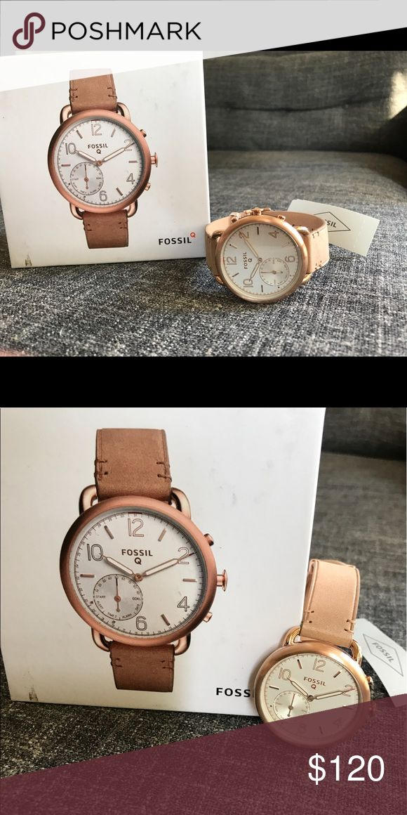 Fossil Q Tailor Gen2 Hybrid Tan Leather Smartwatch Hybrid smartwatch. Light brown leather, the Q Tailor features vintage indices in a rose gold-tone case. Using Bluetooth technology, receive smartphone notifications and accomplish daily fitness goals when the hour, minute and sub-eye hands spin or the watch case vibrates. Set an alarm, compare time in multiple time zones and track everything from steps to calories to sleep. Press the bottom pusher to take a photo, control music or find your…