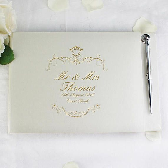 PERSONALISED Wedding Guest Book Pen. Gold Ornate Swirl Text.