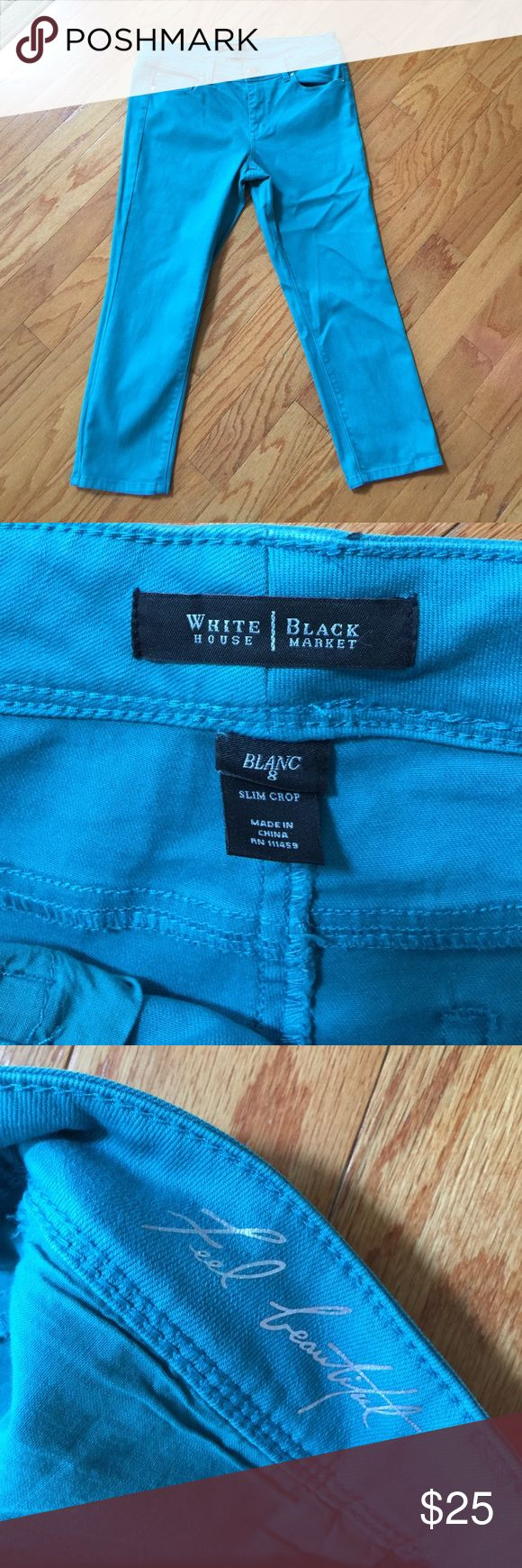 """WHBM teal Stretch jeans Slim Crop sz 8 Blanc Ladies teal slim crop jeans from WHITE HOUSE BLACK MARKET Blanc fit  Size 8  Waist: 34""""   Hips: 39""""   Rise: 9""""   Inseam: 24""""   Silver tone and diamanté hardware.   Machine Washable.  Shell: 92% cotton, 6% elasterell, 2% Lycra.   In excellent gently used condition.   From a smoke free home. White House Black Market Jeans Ankle & Cropped"""