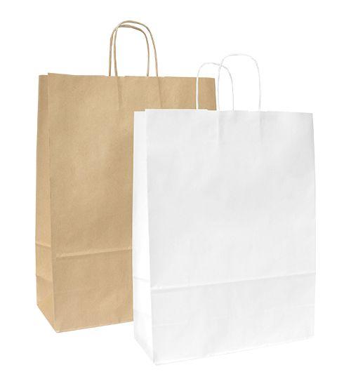 Papírové tašky s krouceným papírovým držadlem.