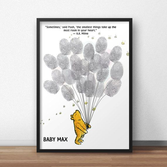 Winnie The Pooh Baby Shower Guest Book Alternative, Pooh holding Balloons, Baby Shower Thumbprint Guestbook Poster, Fingerprint