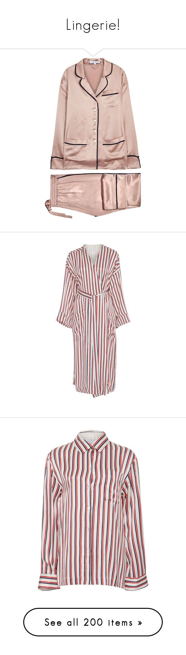 """""""Lingerie!"""" by joanna-tabakou ❤ liked on Polyvore featuring intimates, sleepwear, pajamas, silk pyjamas, silk pajamas, silk sleepwear, silk pajama set, silk pjs, robes and multi"""