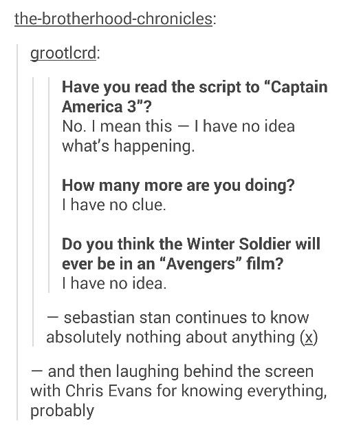How to not ruin a movie con't, by Sebastian Stan :D