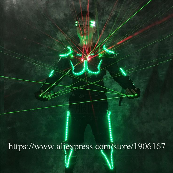 Cool RGB LED Armor Light Up Jackets Laser Costume With Glasses Laser Gloves Led Outfit Clothes Led Suit For LED Robot Suits #SchoolOutfits