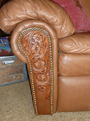 Great idea for fixing up the chair like this the cats destroyed....I have the tools but not the skills!    Rodeo Tales & Gypsy Trails: Ranch House Style, a saddle makers home decor
