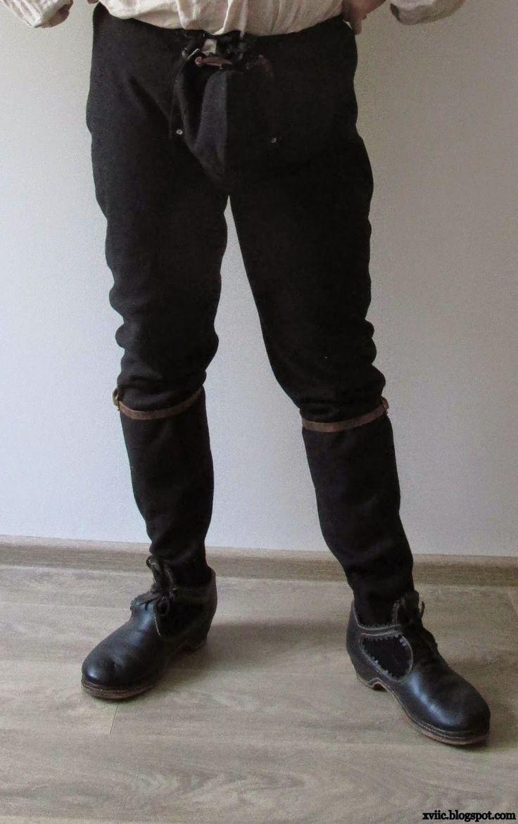 Spodnie zrekonstruowane w oparciu o wykrój z poznańskiej ksiegi cechu krawieckiego. Zdjęcie pochodzi z bloga: xviic.blogspot.co... Autorem bloga jest: Сергей Шаменков