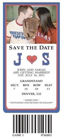 Even though I'm not that into baseball this save the date is adorable! sports save the dates, baseball save the dates #wedding #sports
