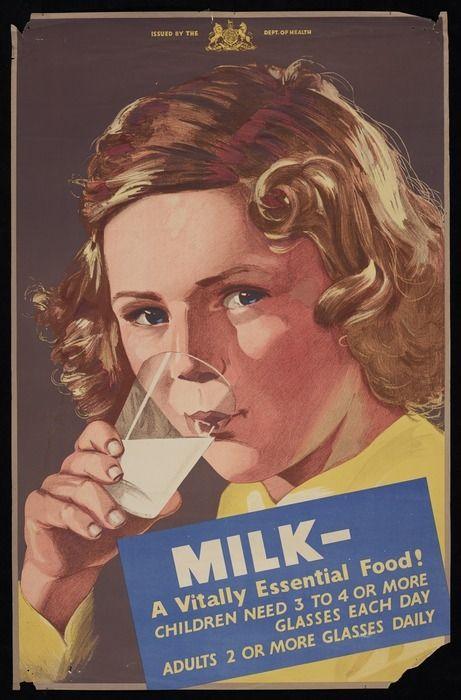 New Zealand Department of Health :Milk - a vitally essential food! Children need 3 to 4 or more glasses each day; adults 2 or more glasses daily [1930s?]