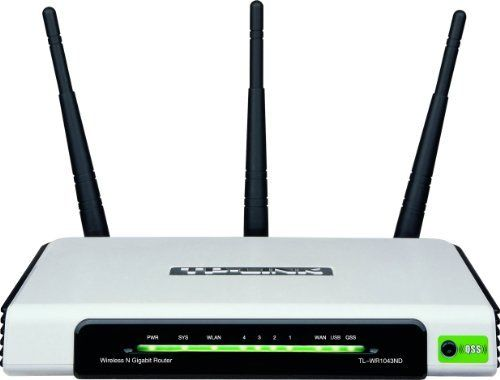 TP-LINK TL-WR1043ND Ultimate Wireless N300 Router , Gigabit, 300Mbps, USB port , 3 Detachable Antenna x3/ IP QoS/ QSS Button by TP-Link. $51.98. From the Manufacturer                Experience interruption-free performance and exceptional data transfer speeds with the TL-WR1043ND Ultimate Wireless-N Gigabit Router from TP-LINK. Suitable for either a business office or your home computer network, the Ultimate Wireless-N Gigabit Router is a combined wired/wireless network ...