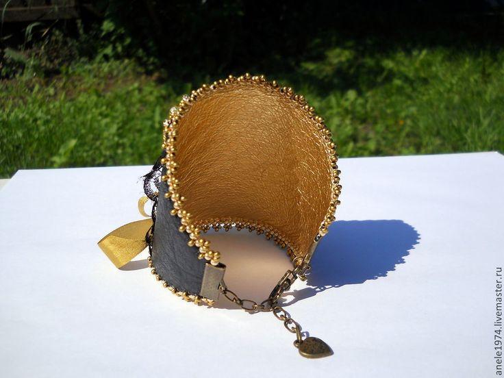 """Купить Кожаный браслет манжета """"Кружевной корсет"""" - золотой, браслет, Браслет ручной работы"""