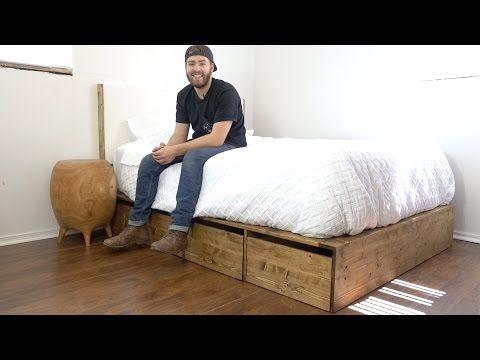 DIY Modern Platform Bed With Storage   Modern Builds   EP. 57   How-To - YouTube -- I really like that the base of this bed is made with inexpensive wood and not a lot of tools, but it is very balanced and has clean lines.