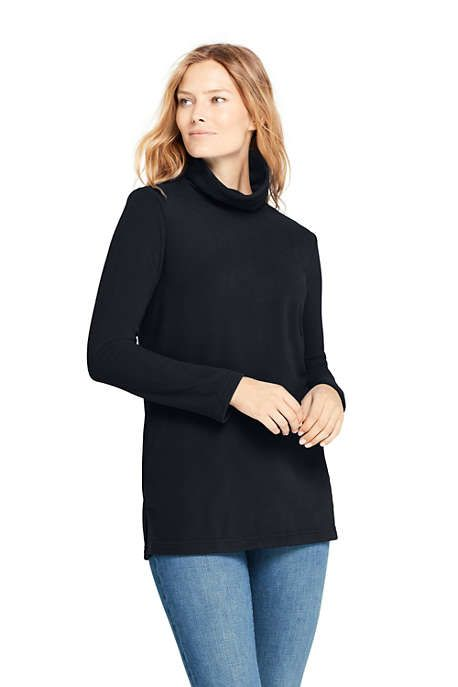 womens fleece turtleneck tunic top from lands end pullover